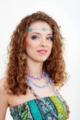 beautiful young hippie woman smiling