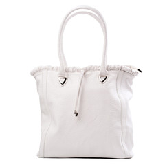 Leather women bag over white, with clipping path