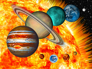Wall Mural - Solar System: the comparative size of the planets and Sun.