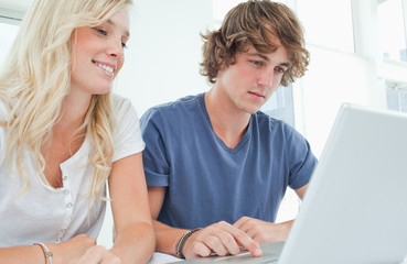 A couple surfing the web on a laptop