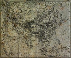 Old world map with Latitude and Longitude lines in vintage patte