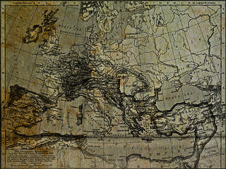 Old world map with theGermanic kingdoms and the East Roman Empir