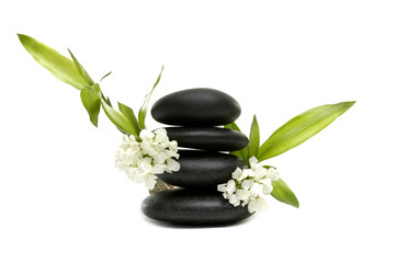 Spa still life with white flowers and zen stones