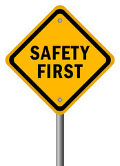 Safety first road sign, vector illustration