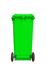 Large green garbage bin