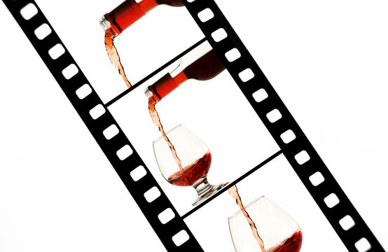 Film strip with wine snap shots