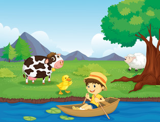 Poster River, lake Farm scene