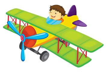 Spoed Fotobehang Vliegtuigen, ballon Flying boy