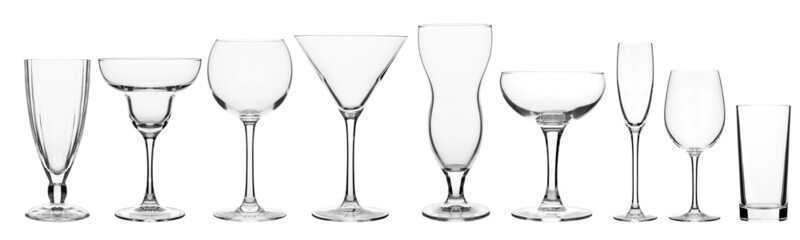 glassware for bar drinks
