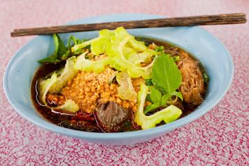 Chicken noodle thai food