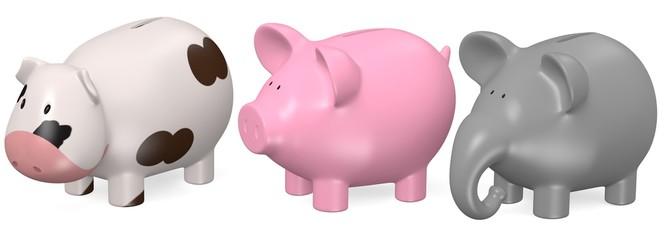 3d render of piggy banks