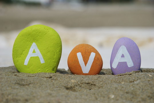 Ava,  name on colourful pebbles