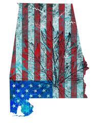 Alabama State Map Flag Pattern