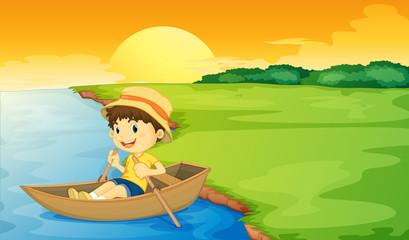 Canvas Prints River, lake Boy in a boat