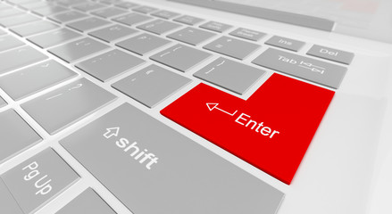 3d illustration: button on the keyboard input of a red green