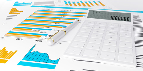 3d illustration of a business, finance credit reports and statis