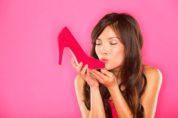 Woman kissing shoe