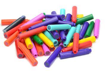 A pile of colour fountain pen refill cartridges
