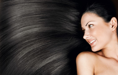 woman with long healthy shiny hair