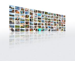 Le mur de photo en perspective sur le thème des vacances