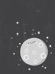 Cute Moon with a human face looking at the stars