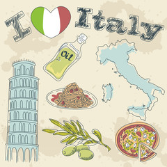 Italy travel grunge card