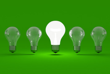 some bulbs on a green background
