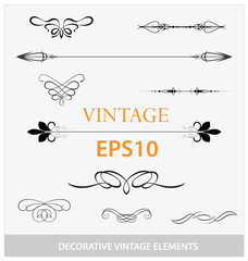 vintage decorative elements big set