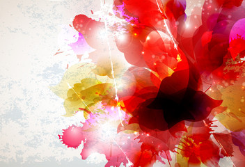 Fototapete - Abstract background with red and pink elements formed flower