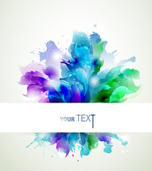 Fototapete - Abstract background with blue, pink and green elements