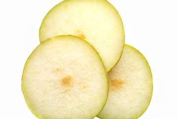 sliced pear closeup (3 pieces)
