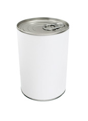Blank Tin Can with Blank White Label