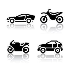 Set of transport icons - sports transportation