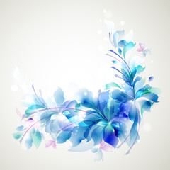 abstract flower and small butterflies