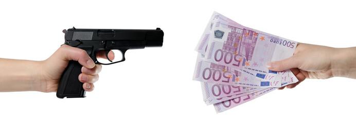 Raubüberfall - Waffe und Geld