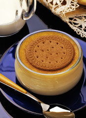 custard with biscuit and cinnamon