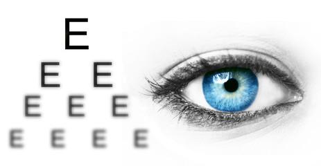 Wall Murals Iris Eye test chart and blue human eye