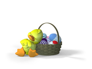Duckling Sleeping against an Easter Basket