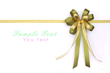 Beautiful green and gold bow on white background