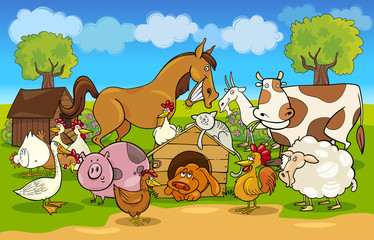 Foto op Textielframe Pony cartoon rural scene with farm animals