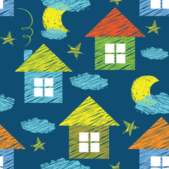 vector seamless pattern with houses and clouds