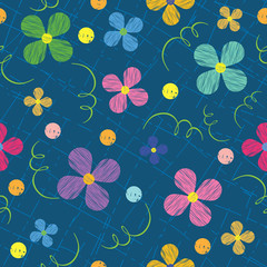 seamless pattern with flowers, painted