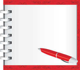 Spiral notepad and red ballpen