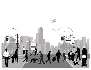 Vector illustration.Rush city street