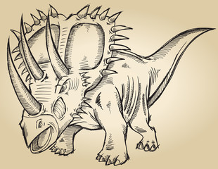 Sketch Doodle Triceratops Dinosaur Vector