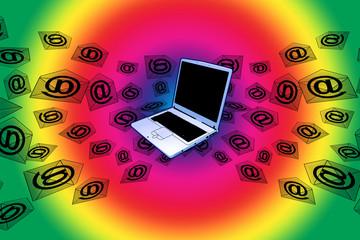 3D E-Mail Laptop Rainbow