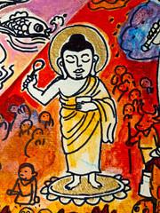 Vintage traditional Thai style art painting on temple