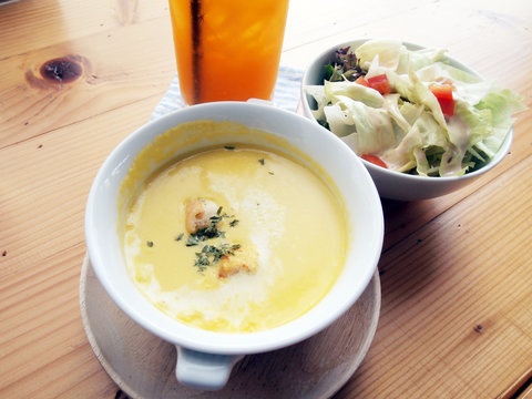 pumpkin Soup with healthy salad.