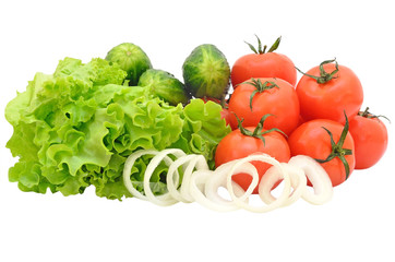 Lettuce, tomatoes, cucumbers, onion