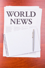 The newspaper  WORLD NEWS